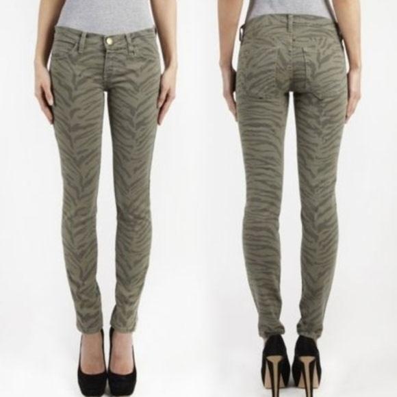 Current/Elliott Denim - Current Elliott Olive Zebra Ankle Skinny Jeans